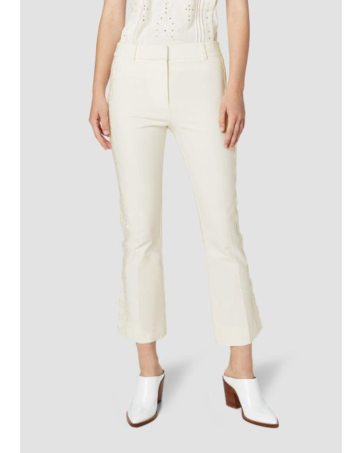 10 Crosby Derek Lam - White Eyelet Embroidery Crosby Cropped Flare Trouser - Lyst