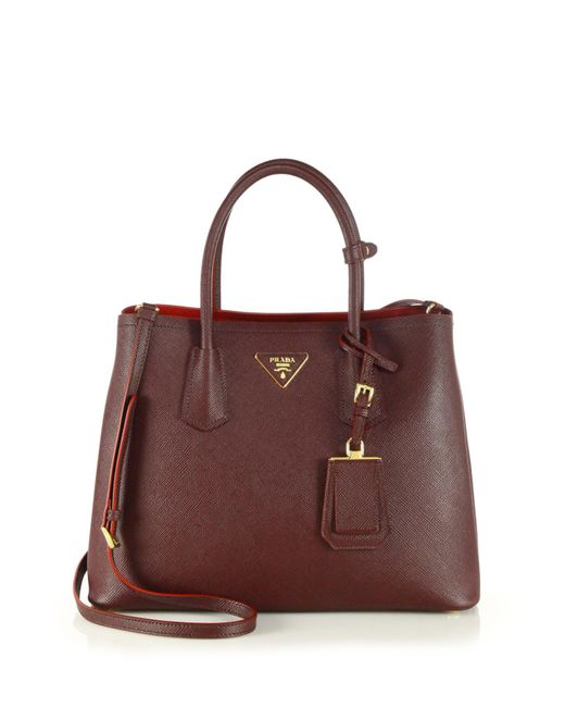 Prada | Red Saffiano Cuir Small Double Bag | Lyst