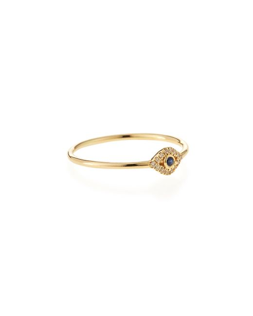 Sydney Evan | Metallic 14k Gold Small Diamond Evil Eye Ring | Lyst