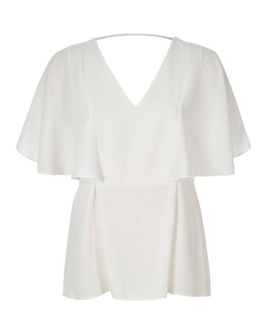 River island white cape back v neck t shirt in pink white for V neck back shirt