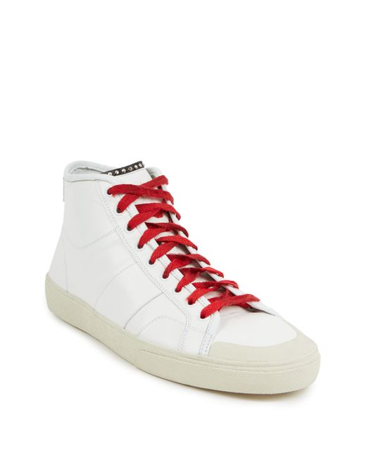 laurent leather high top sneakers in white for