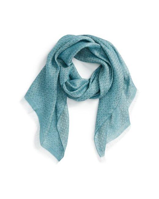 ferragamo gancini pattern linen scarf in blue