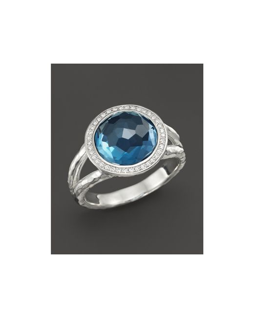 Ippolita   Metallic Sterling Silver Stella Mini Lollipop Ring In London Blue Topaz With Diamonds   Lyst