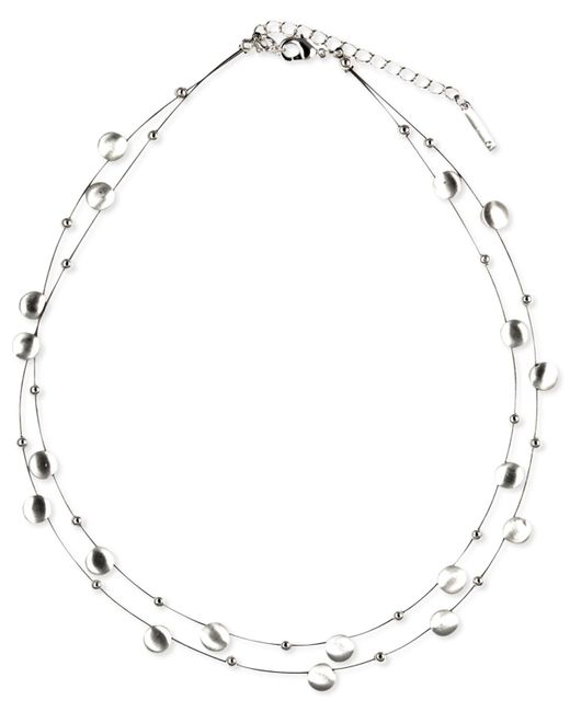 Nine West | Metallic Silver-tone Disc Two-row Necklace | Lyst