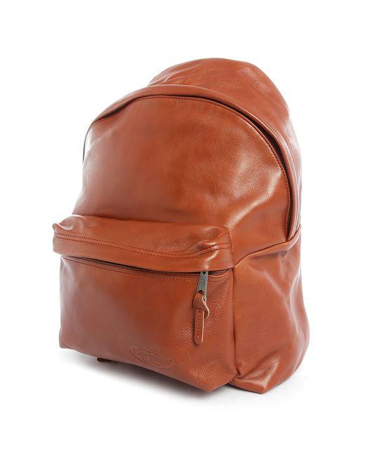 Leather Eastpak Backpack: Eastpak Camel Padded Pak'r Leather Backpack In Beige For