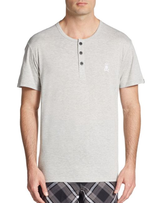 Psycho Bunny | Gray Short Sleeve Lounge Henley for Men | Lyst