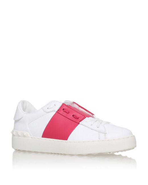 Valentino | Pink Open Leather Sneakers | Lyst