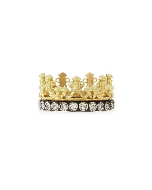 Armenta | Metallic 18K Gold & Midnight Diamond Crown Ring | Lyst
