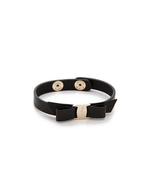Ferragamo | Black Vara Bow Single Wrap Bracelet | Lyst