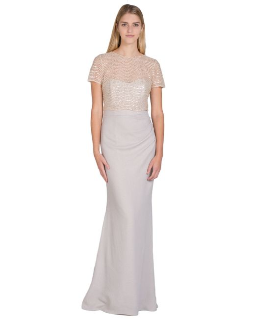 Badgley Mischka | Gray Wave Beaded Bodice Evening Gown | Lyst