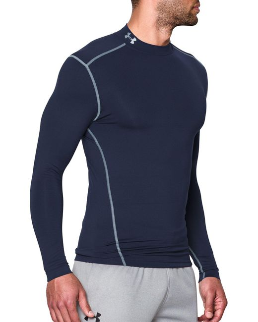 a913a7033 ... Under Armour - Blue Coldgear Armour Compression Mock Neck Long Sleeve  Shirt for Men - Lyst ...