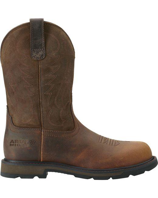 Ariat - Brown Groundbreaker Pull-on Steel Toe Western Boots for Men - Lyst