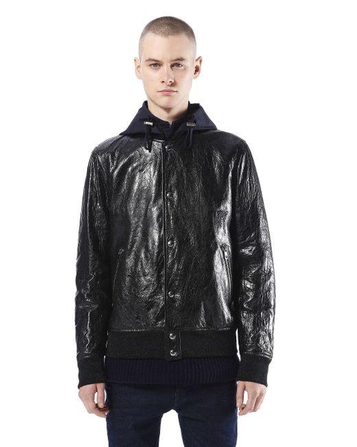 Diesel Black Gold | Black - 'lime-print' Waxed Jacket - Men - Calf Leather/acetate/cupro - 50 for Men | Lyst