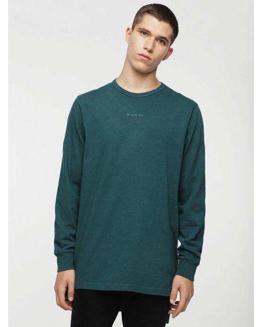 DIESEL Long-sleeve T-shirt With Longer Back Hem in Green for Men - Lyst 9193d334820
