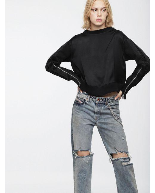 DIESEL - Black Sweatshirt In Glossy Satin And Cotton - Lyst