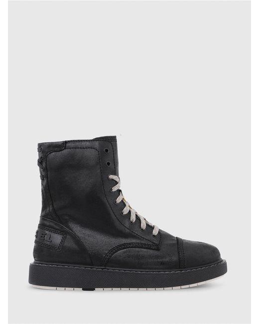 DIESEL - Black Leather Combat Boots for Men - Lyst