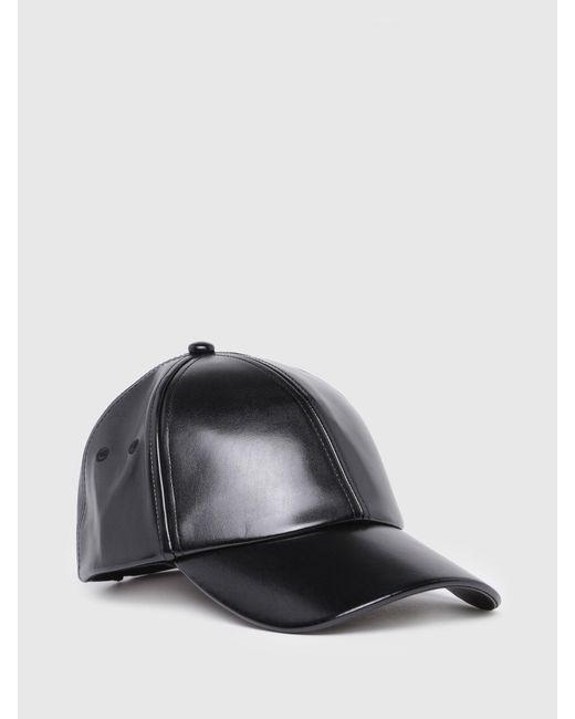 DIESEL - Black Coated Cap With Mettallic Finishing - Lyst