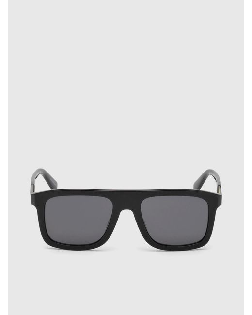 DIESEL - Black Square Eyewear With Metal Plaque for Men - Lyst