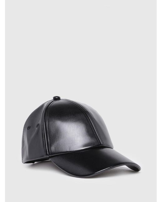 DIESEL - Black Coated Cap With Mettallic Finishing - Lyst