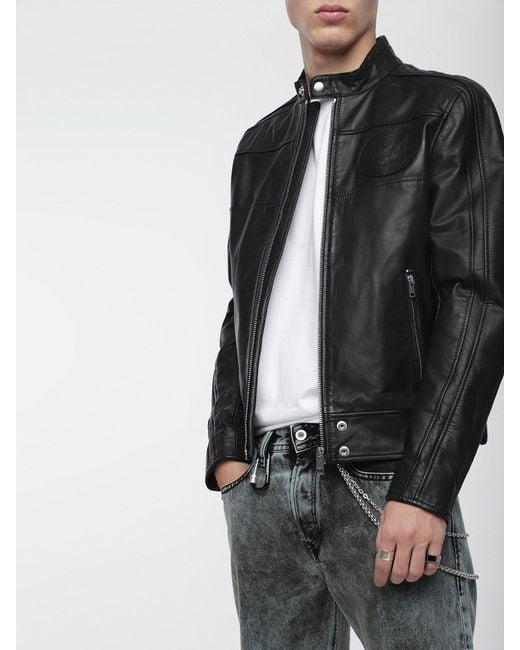 DIESEL - Black Leather Biker Jacket With Embossed Logo for Men - Lyst