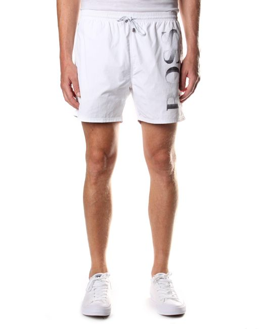 f7c468ac BOSS Octopus Men's Tie Waist Swim Shorts White in White for Men - Lyst