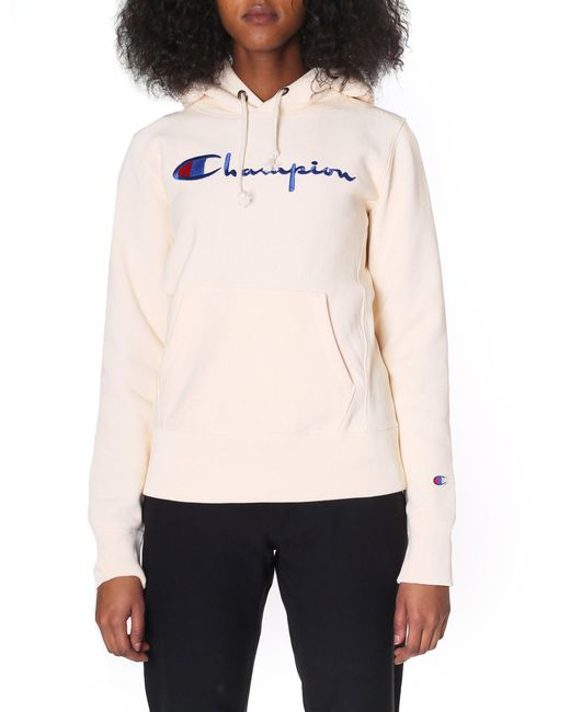 2134fa40778 Champion - Natural Script Logo Reverse Weave Hoodie - Lyst ...