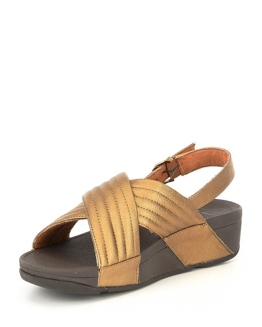 ed186e4ddbde ... Fitflop - Brown Lulu Leather Padded Back-strap Sandals - Lyst