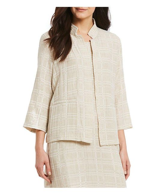 Eileen Fisher - Natural High Collar Sleeves Jacket - Lyst