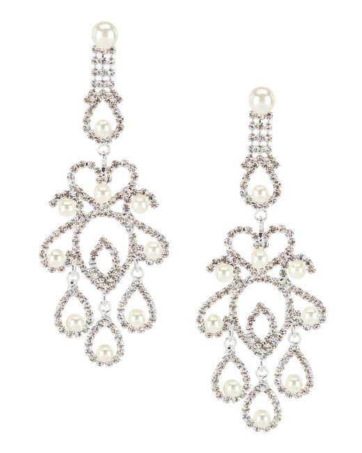 Cezanne - Metallic Pearl Filigree Chandelier Statement Earrings - Lyst