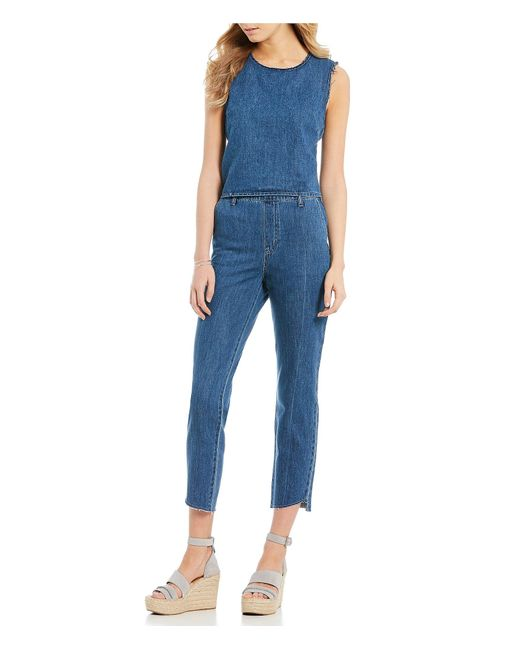 e839263526f9 Lyst - Ella Moss Split Back Cropped Denim Jumpsuit in Blue - Save 60%