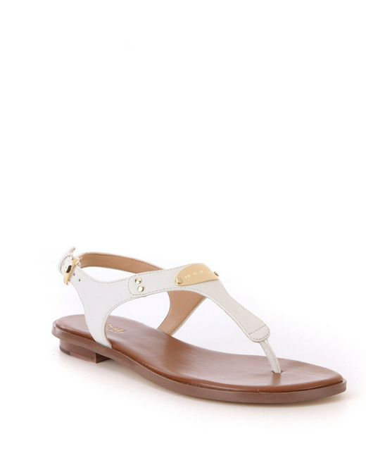 5fae81c2f MICHAEL Michael Kors - White Mk Plate Saffiano Leather Thong Sandals - Lyst  ...