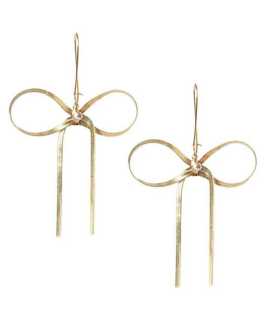 Betsey Johnson | Metallic Crystal Goldtone Bow Drop Earrings | Lyst