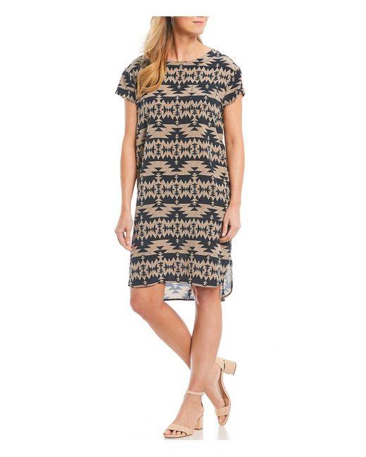 46c26ee9db Pendleton - Multicolor Willow Creek Silk Short Sleeve Hi-low Hem Shift Dress  - Lyst ...