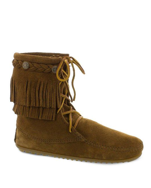 Minnetonka - Black 5-layer Fringe Boots - Lyst