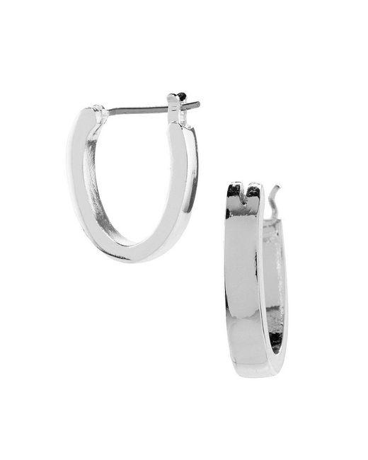 Lauren by Ralph Lauren | Metallic Silvertone Hoop Earrings | Lyst