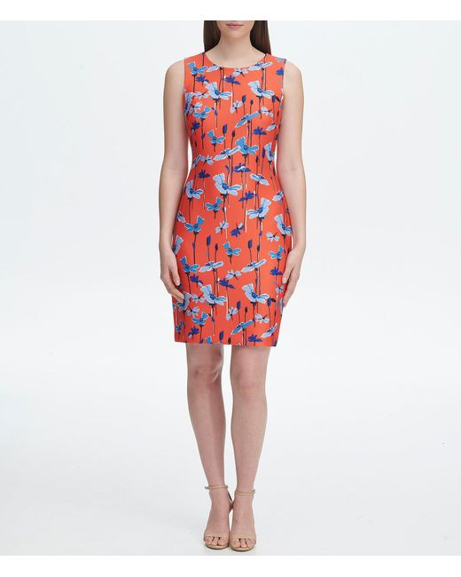 ed6b626b0 Tommy Hilfiger - Red Scuba Floral Sleeveless Sheath Dress - Lyst ...