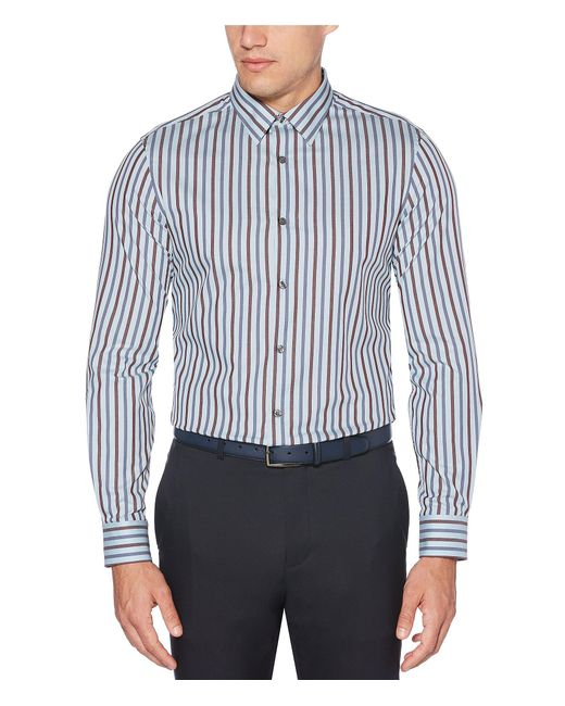 Perry Ellis Multicolor Stripe Stain-resistant Water-repellent Long-sleeve Woven Shirt for men