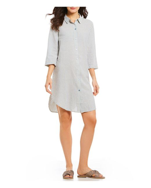 Eileen Fisher - Multicolor Petite Size Classic Collar Stripe Shirtdress - Lyst