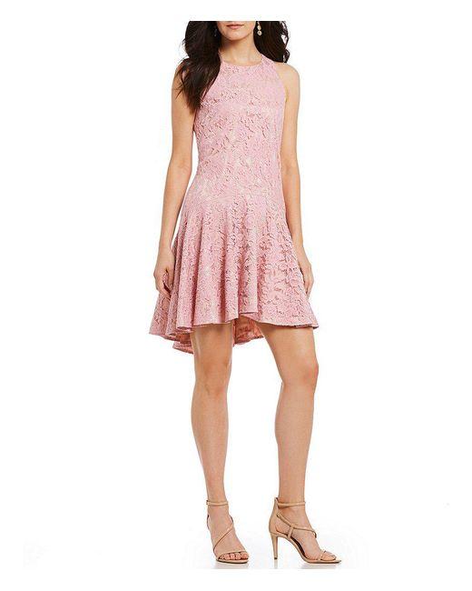Eliza J - Pink Lace Drop Waist Dress - Lyst