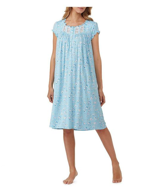 Eileen West | Blue Rose-print Jersey Waltz Nightgown | Lyst