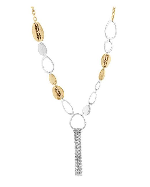 Lucky Brand - Metallic Organic Tassel Necklace - Lyst