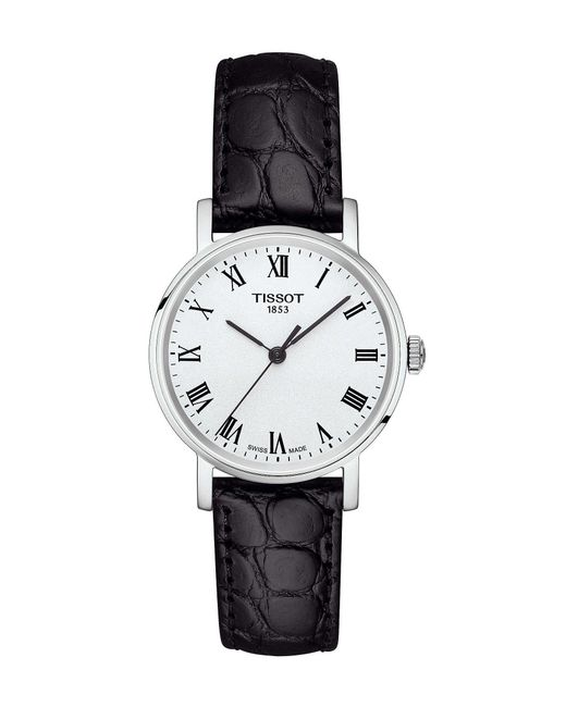 Tissot - Everytime Black Leather Strap Watch - Lyst