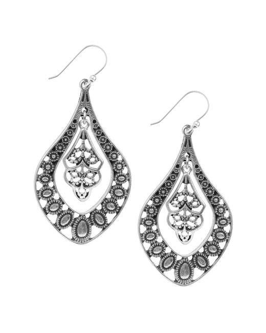 Lucky Brand - Metallic Silver Filigree Oblong Drop Earrings - Lyst