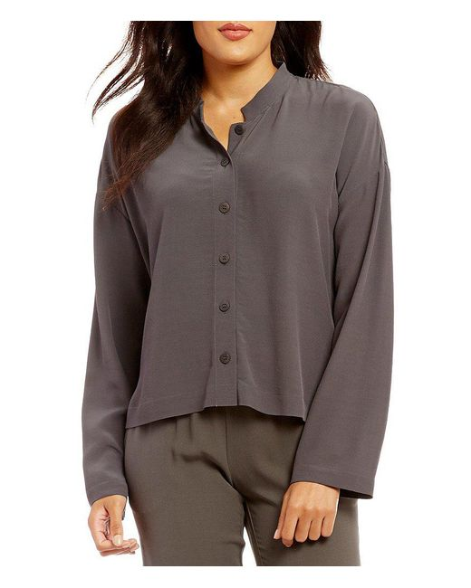 Eileen Fisher | Gray Petites Mandarin Collar Box-top | Lyst