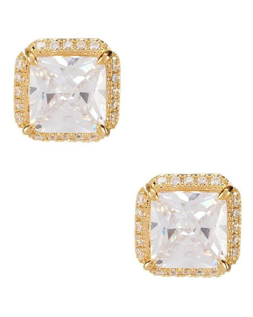 Kate Spade - Metallic Pave Princess Cut Stud Earrings - Lyst
