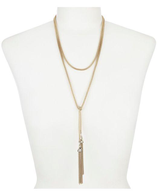 Lauren by Ralph Lauren - Metallic Long Mesh Tassel Necklace - Lyst
