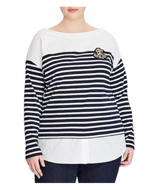 Lauren by Ralph Lauren - Blue Plus Signature Patch Striped Layered Cotton Sweater - Lyst