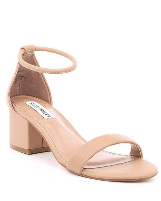 000b6ce938a Steve Madden - Natural Ibbie Block Heel Sandals - Lyst ...