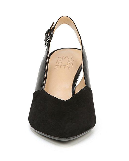 Nelle Leather and Suede Slingback Pumps MzEnNi