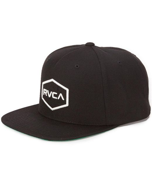 RVCA | Black Commonwealth Embroidered Logo Snap-back Ii Hat for Men | Lyst